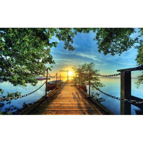 Apus, dig, copaci pe malul lacului - fototapet