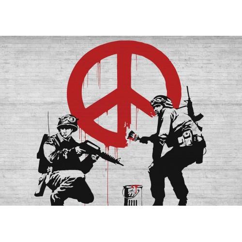 Banksy Graffiti, La razboi! - fototapet