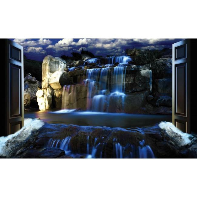 Cascada albastra vibranta din padure - fototapet