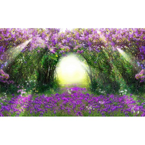 Florile mov din padure - fototapet
