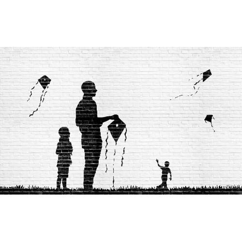 Graffiti, copii jucandu-se cu zmeul - fototapet