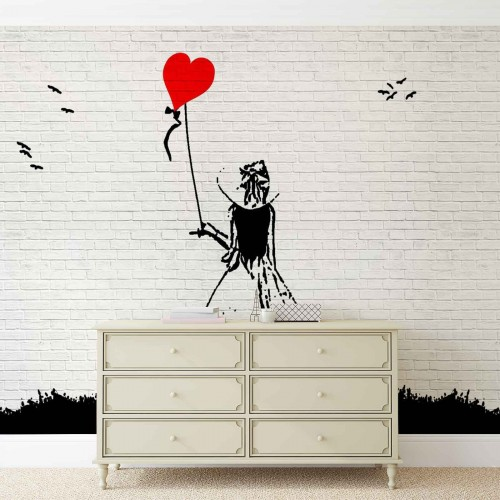 Graffiti, fetița cu balonul roșu - fototapet