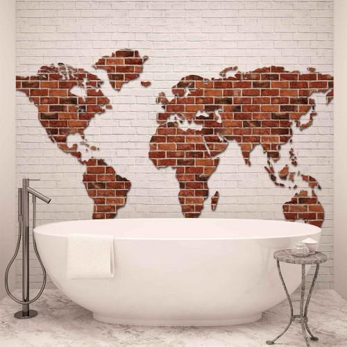 Harta lumii, perete din caramidă - fototapet