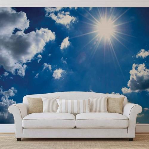 Norii și soarele de pe cer - fototapet