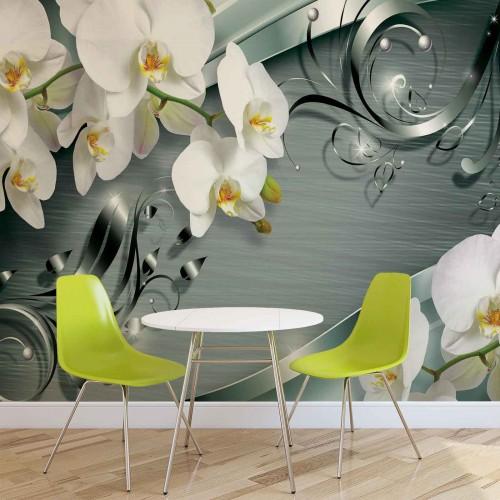 Orhidee albe, design floral - fototapet