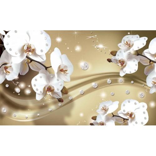 Orhidee albe pe fundal maro - fototapet