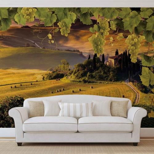 Peisaj italian, dealuri de toamna - fototapet