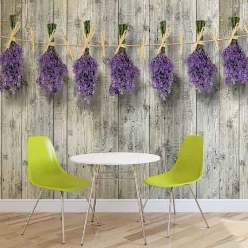 Fototapet levănțică, perete din lemn