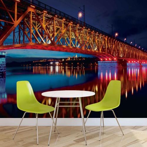 Reflexia podului in noapte - fototapet
