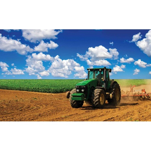 Tractor în câmp - fototapet