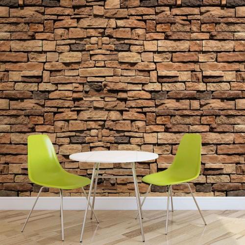 Zid de piatră maro-gri - fototapet
