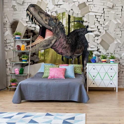 Dinosaur 3D, perete din cărămidă - fototapet copii