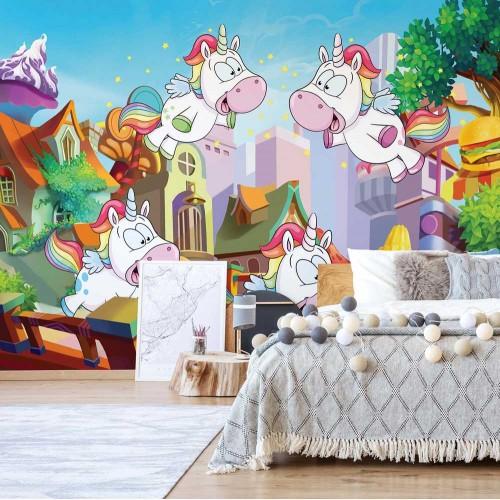 Unicornii zburători - fototapet copii