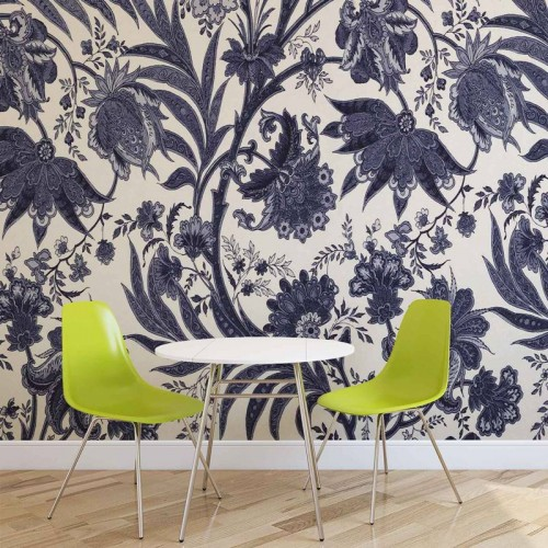 Design floral albastru-alb vintage - fototapet