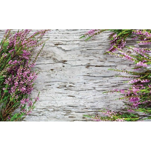 Flori pe imitatie de lemn - fototapet