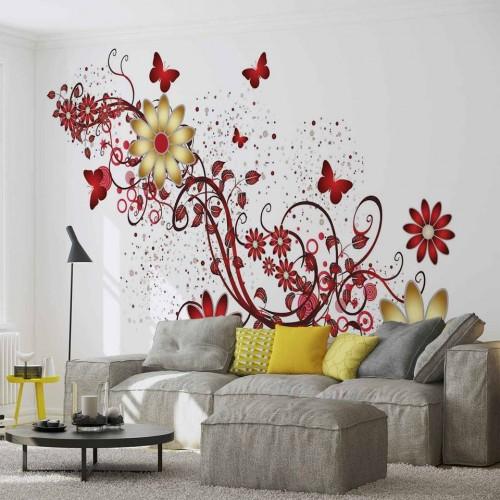 Fluturi și flori roșii - fototapet