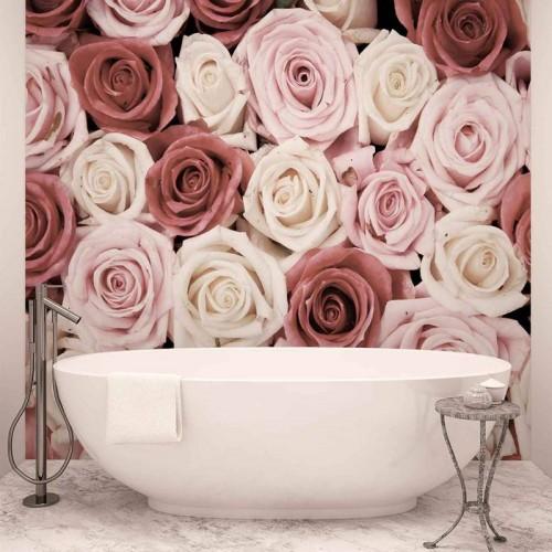 Oaza de trandafiri roz-pastel - fototapet