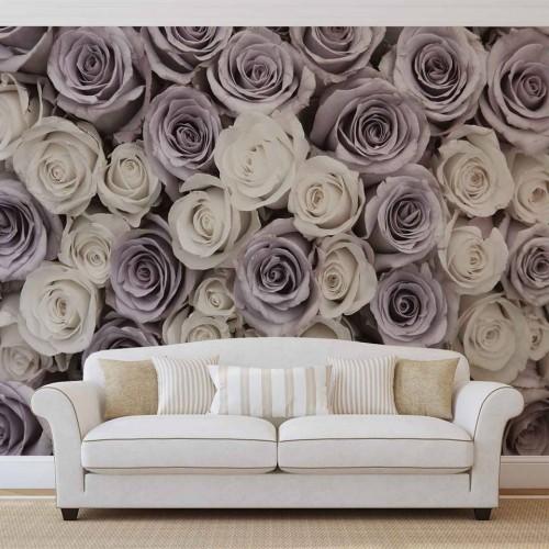 Trandafiri elegante mov - fototapet