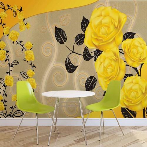 Trandafiri galben - fototapet