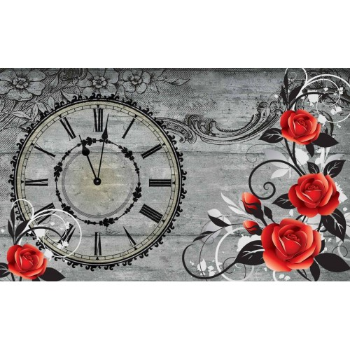 Trandafiri rosii in stil Vintage - fototapet