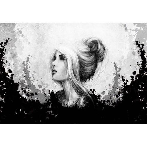 Femeie alb, negru - fototapet