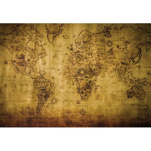Harta lumii vintage, sepia - fototapet