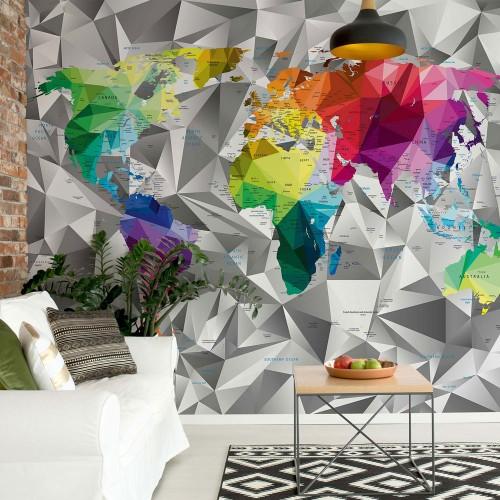 Harta modernă colorată 3D - fototapet