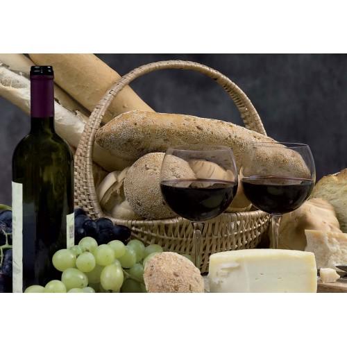 Fototapet bucătărie pâine și vin
