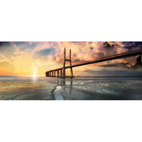 Rasarit de soare, podul din Portugalia - fototapet