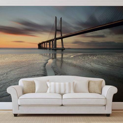 Apus de soare, podul din Portugalia - fototapet