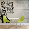 Banksy Graffiti alb-negru - fototapet