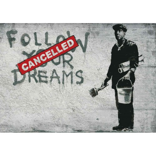 Banksy Graffiti pe perete de beton - fototapet