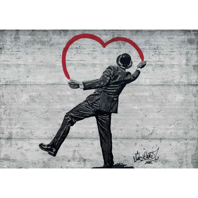 Banksy Graffiti pe perete de beton: Love is in the air!  - fototapet