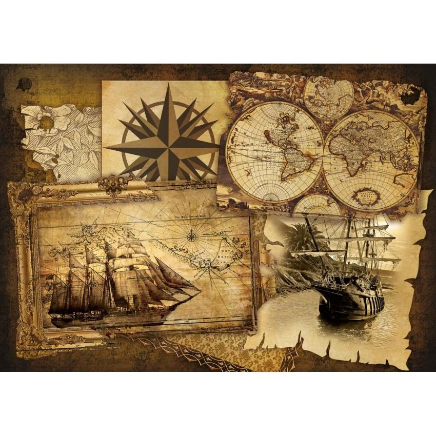 Corabii si harti vintage - fototapet