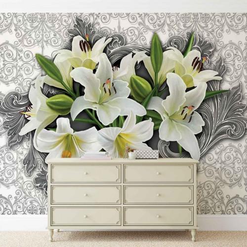 Decor floral, crini albi - fototapet