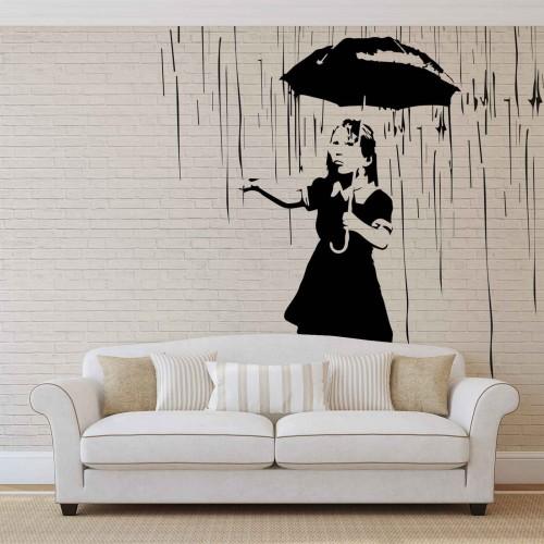 Banksy Graffiti: Fetita in ploaie - fototapet