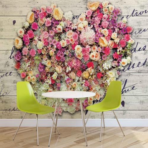 Flori in forma de inima - fototapet