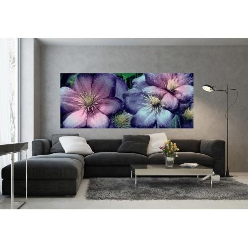 Flori roz, violet - fototapet