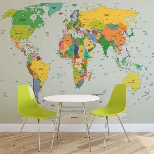 Harta lumii color - fototapet