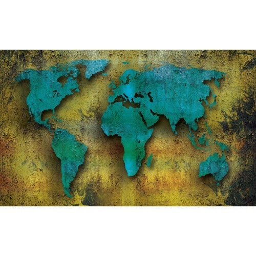 Harta lumii pe lemn I - fototapet