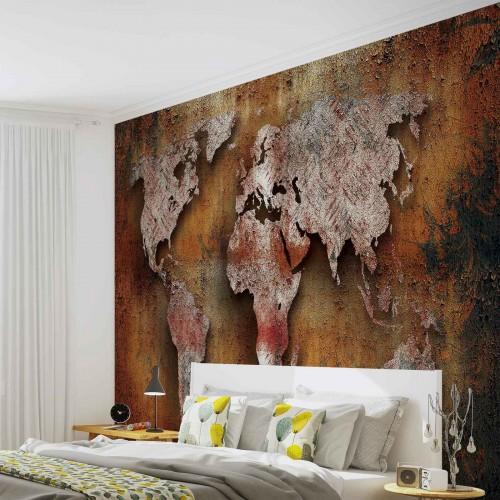 Harta lumii pe lemn II - fototapet vlies