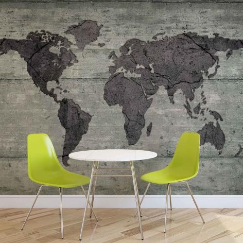 Harta lumii, perete din beton - fototapet