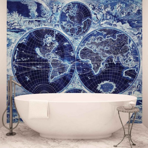 Harta lumii vintage, albastru - fototapet