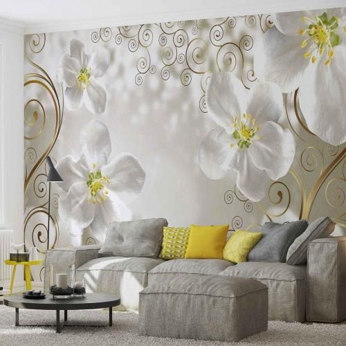 Onduleuri de flori albe - fototapet