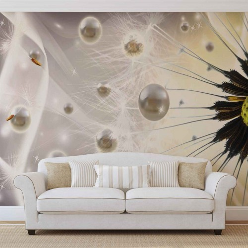 Papadie abstracta, alb - fototapet