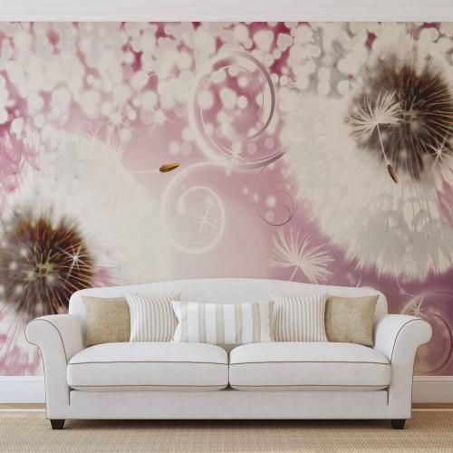 Papadie abstracta, roz - fototapet