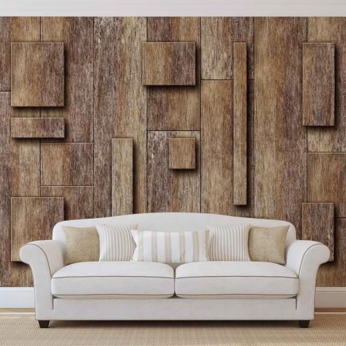 Placi abstracte din lemn - fototapet