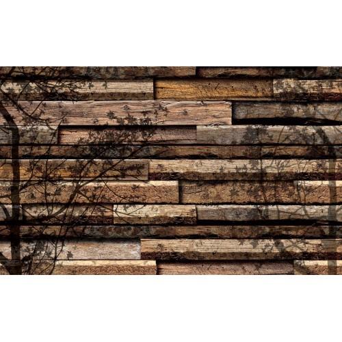 Placi din lemn, umbra copacului - fototapet