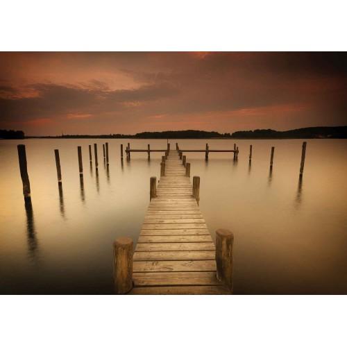 Podul si pilonii lacului, natura sepia - fototapet