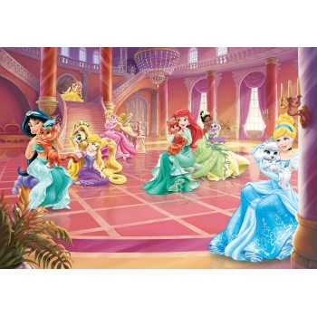 Prințesele și animăluțele lor în castel - fototapet copii